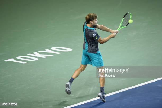 David Goffin of Belgium plays a backhand in his quarterfinal match against Richard Gasquet of France during day five of the Rakuten Open at Ariake...