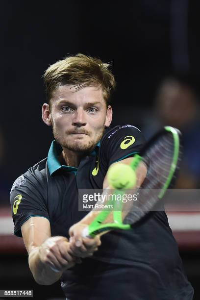 David Goffin of Belgium plays a backhand in his semi final match against Diego Schwartzman of Argentina during day six of the Rakuten Open at Ariake...
