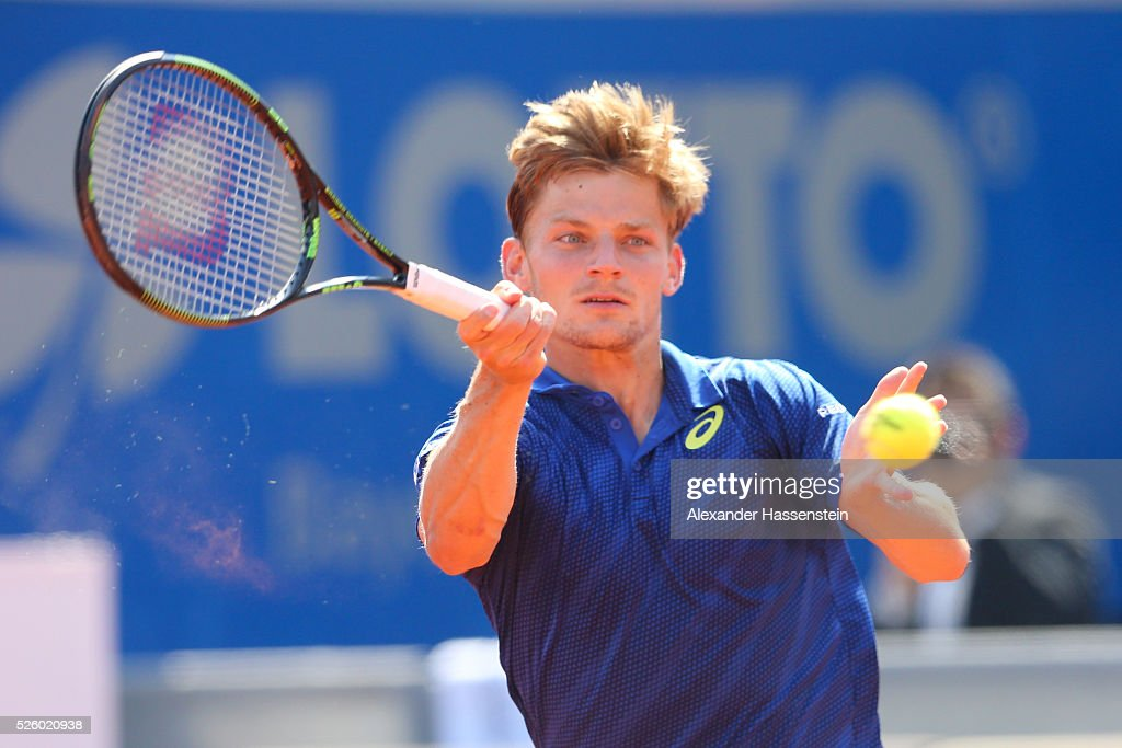 <a gi-track='captionPersonalityLinkClicked' href=/galleries/search?phrase=David+Goffin&family=editorial&specificpeople=2291768 ng-click='$event.stopPropagation()'>David Goffin</a> of Belgium plays a fore hand during his quater final match against Alexander Zverev of Germany of the BMW Open at Iphitos tennis club on April 29, 2016 in Munich, Germany.