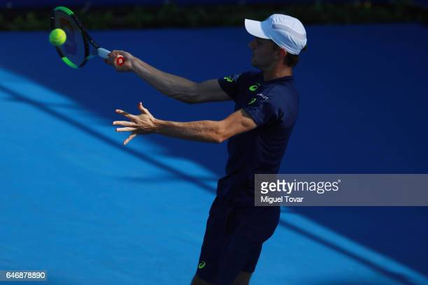 David Goffin of Belgium plays a forehand during the match between Sam Querrey and David Goffin as part of the Abierto Mexicano Telcel 2017 at the...