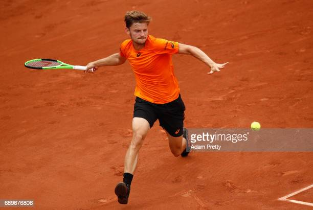 David Goffin of Belgium plays a forehand during the mens singles first round match against PaulHenri Mathieu of France on day two of the 2017 French...