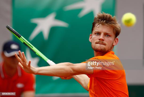 David Goffin of Belgium plays a forehand during the mens singles first round match against PaulHenri Mathieu of Franceon day two of the 2017 French...