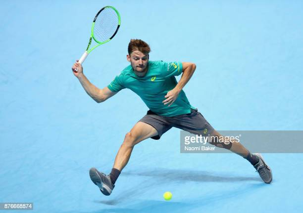 David Goffin of Belgium plays a forehand during the singles final against Grigor Dimitrov of Bulgaria during day eight of the 2017 Nitto ATP World...
