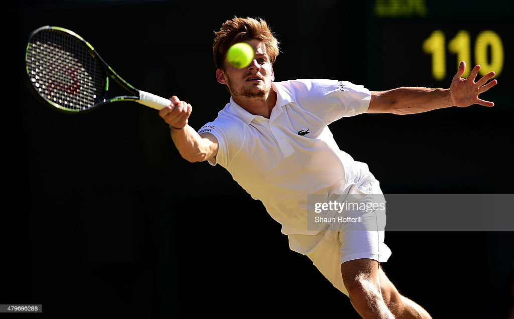 <a gi-track='captionPersonalityLinkClicked' href=/galleries/search?phrase=David+Goffin&family=editorial&specificpeople=2291768 ng-click='$event.stopPropagation()'>David Goffin</a> of Belgium plays a forehand in his Gentlemen's Singles Fourth Round match against Stanislas Wawrinka of Switzerland during day seven of the Wimbledon Lawn Tennis Championships at the All England Lawn Tennis and Croquet Club on July 6, 2015 in London, England.