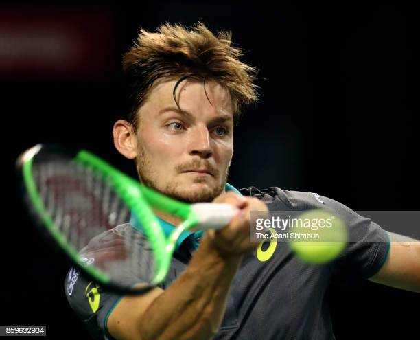 David Goffin of Belgium plays a forehand in his semi final match against Diego Schwartzman of Argentina during day six of the Rakuten Open at Ariake...
