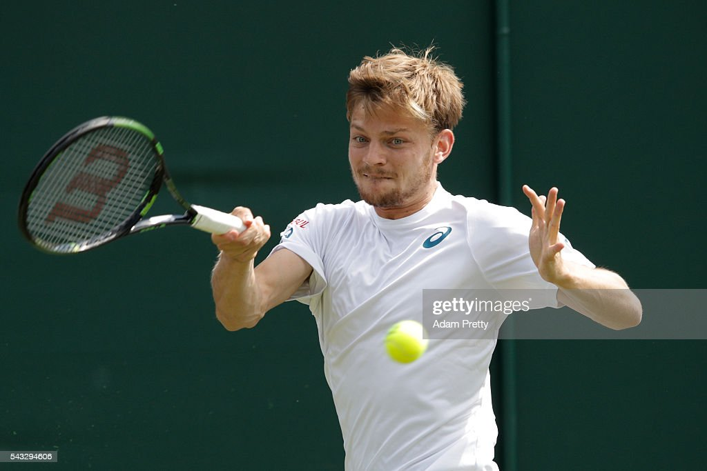 <a gi-track='captionPersonalityLinkClicked' href=/galleries/search?phrase=David+Goffin&family=editorial&specificpeople=2291768 ng-click='$event.stopPropagation()'>David Goffin</a> of Belgium plays a forehand shot during the Men's Singles first round match against Alexander Ward of Great Britain on day one of the Wimbledon Lawn Tennis Championships at the All England Lawn Tennis and Croquet Club on June 27th, 2016 in London, England.