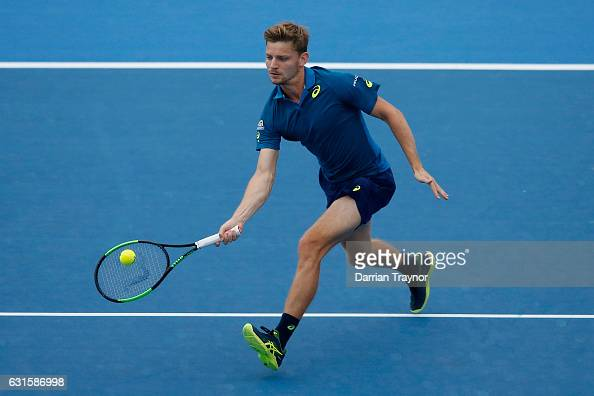 David Goffin of Belgium plays a forehand shot in the mens final against Ivo Karlovic of Croatia during day four of the 2017 Priceline Pharmacy...