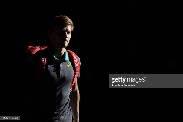 David Goffin of Belgium reacts as he arrives for his men's single first round match against Adrian Mannarino of France during day three of the Rolex...