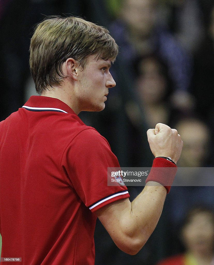 David Goffin of Belgium reacts during the Davis Cup singles first round match between Belgium and Serbia, at Spirou dome February 01, 2013 in Charleroi, Belgium.