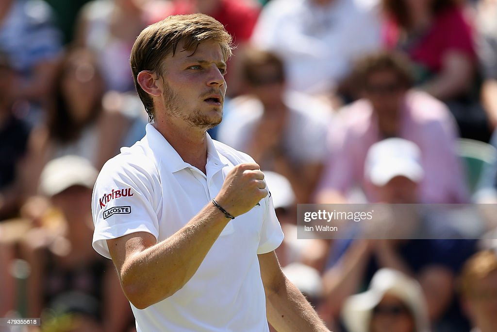 <a gi-track='captionPersonalityLinkClicked' href=/galleries/search?phrase=David+Goffin&family=editorial&specificpeople=2291768 ng-click='$event.stopPropagation()'>David Goffin</a> of Belgium reacts in his Gentlemen's Singles Third Round match against Marcos Baghdatis of Cyprus during day five of the Wimbledon Lawn Tennis Championships at the All England Lawn Tennis and Croquet Club on July 3, 2015 in London, England.