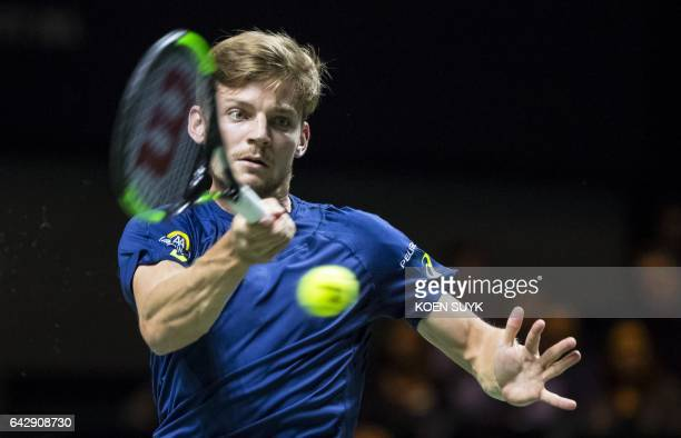 David Goffin of Belgium returns a ball during his final match of the ABN Amro World Tennis Tournament against JoWilfried Tsonga of France in...