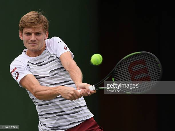 David Goffin of Belgium returns a shot to Benoit Paire of France in the men's singles second round match during Day 4 of the ATP Shanghai Rolex...