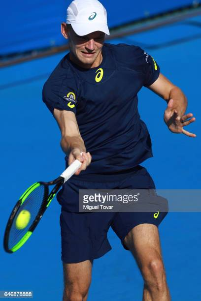 David Goffin of Belgium returns the ball during the match between Sam Querrey and David Goffin as part of the Abierto Mexicano Telcel 2017 at the...