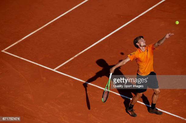 David Goffin of Belgium serves during his match against Rafael Nadal of Spain during day seven of the ATP Monte Carlo Rolex Masters Tennis at...