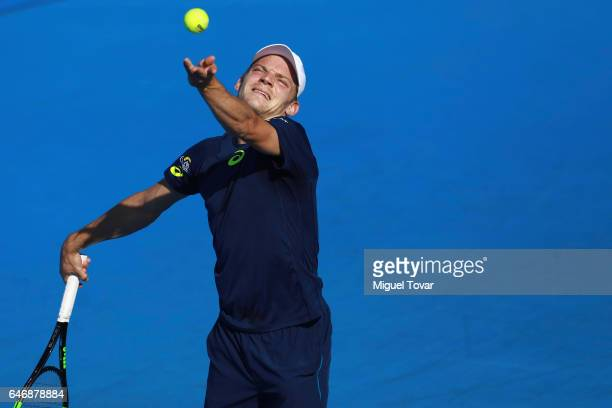 David Goffin of Belgium serves during the match between Sam Querrey and David Goffin as part of the Abierto Mexicano Telcel 2017 at the Fairmont...