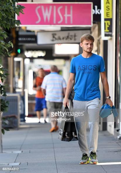 David Goffin of Belgium walks down chapel street after Shopping at Australian Designer Godwin Charli's store on Chapel Street South Yarra during day...