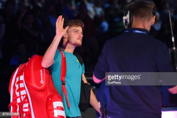 David Goffin of Belgium walks out for his Singles match against Dominic Thiem of Austria during day six of the Nitto ATP World Tour Finals at O2...