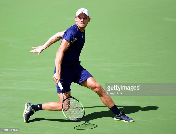 David Goffin of Belgium watches his backhand return in his loss to Pablo Cuevas of Uruguay during the BNP Paribas at Indian Wells Tennis Garden on...