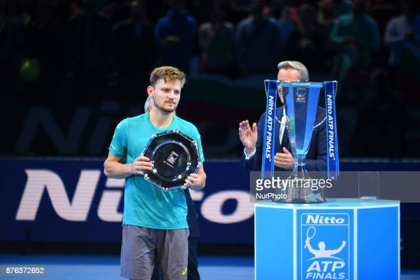 David Goffin with his 2017 runnerup trophy at O2 Arena on November 19 2017 in London England
