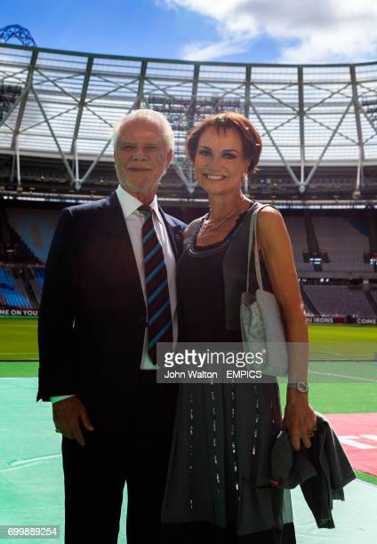 David Gold and fiance Lesley Manning at London Stadium prior to kick off