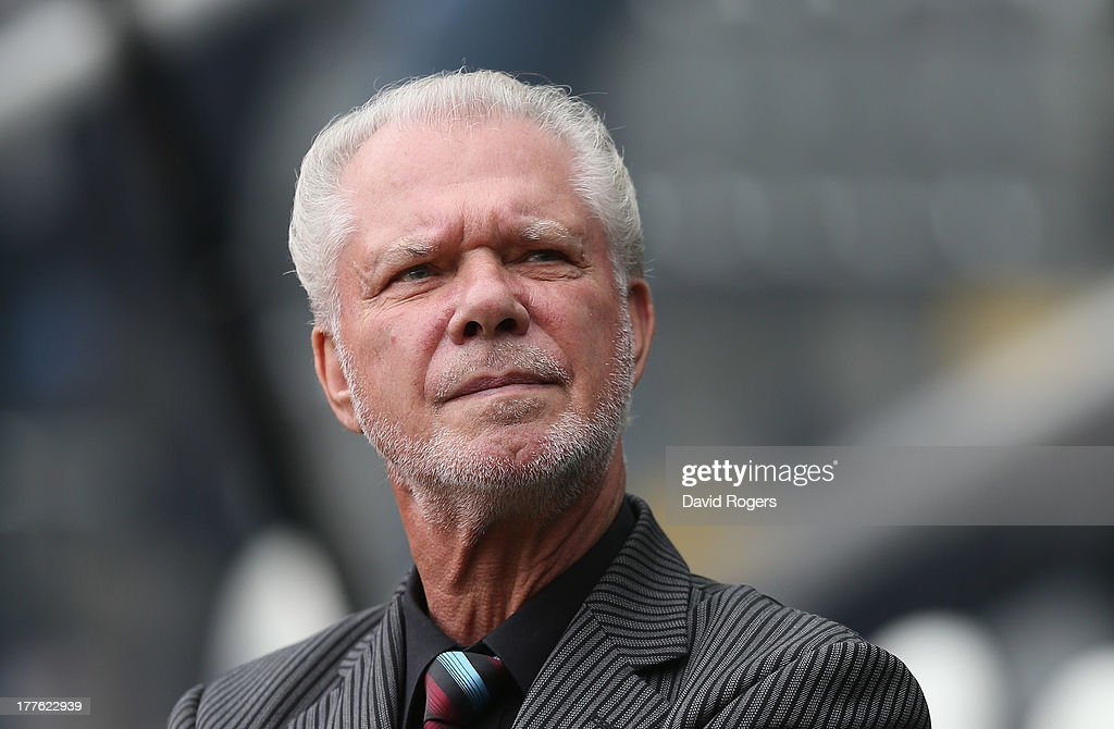 David Gold, chairman of West Ham United, looks on during the Barclays Premier League match between Newcastle United and West Ham United at St James' Park on August 24, 2013 in Newcastle upon Tyne, England.
