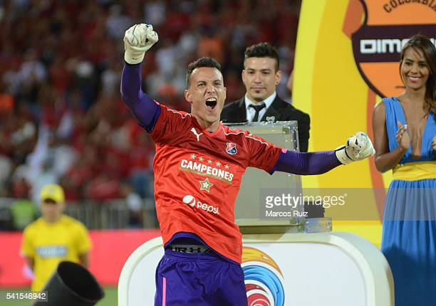 David Gonzalez of Medellin celebrates after winning a second leg final match between Independiente Medellin and Junior as part of Liga Aguila I 2016...