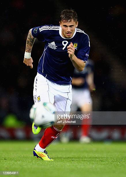 David Goodwillie of Scotland in action during the UEFA EURO 2012 Group I qualifying match between Scotland and Lithuania at Hampden Park on September...