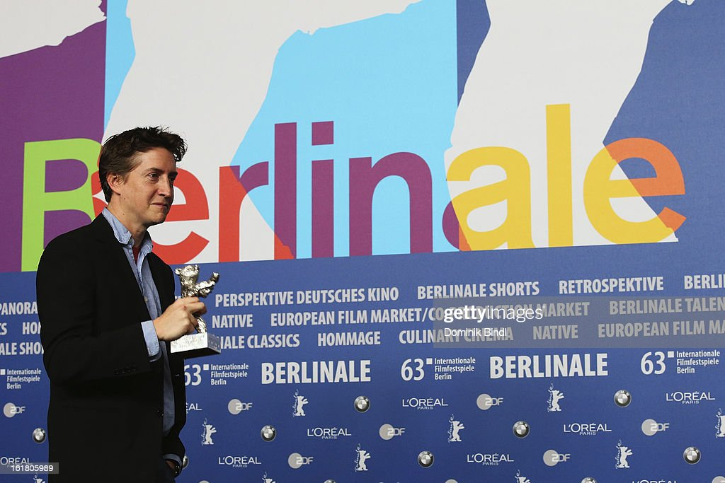 David Gordon Green poses with the award as best director at the Award Winners Press Conference during the 63rd Berlinale International Film Festival at Grand Hyatt Hotel on February 14, 2013 in Berlin, Germany.