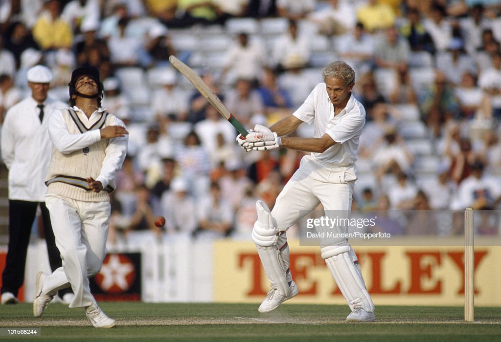 David Gower batting for England during his innings of 157 not out on the fifth day of the 3rd Test match between England and India at the Oval in London, 28th August 1990. The match ended in a draw.