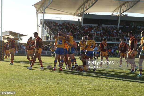 David Gower of City celebrates with his team mates after scoring a try during the 2017 City versus Country Origin match at Glen Willow Sports Ground...
