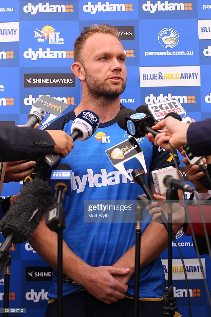 David Gower talks to the media during a Parramatta Eels NRL media opportunity at the Eels Training Centre on May 26, 2016 in Sydney, Australia.