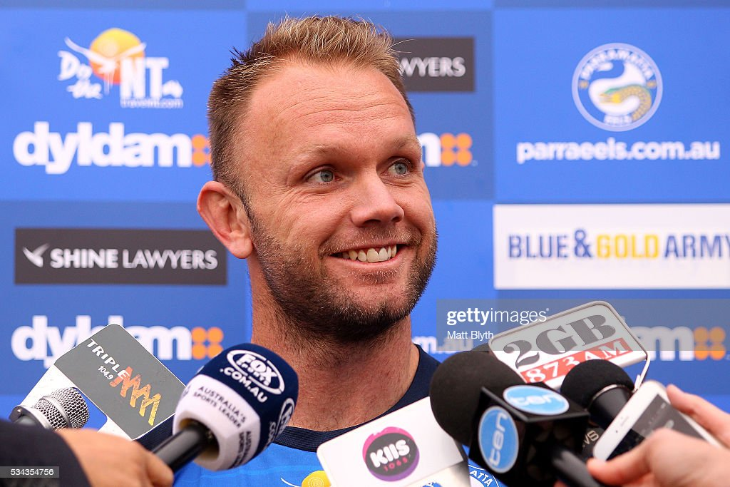 <a gi-track='captionPersonalityLinkClicked' href=/galleries/search?phrase=David+Gower&family=editorial&specificpeople=587623 ng-click='$event.stopPropagation()'>David Gower</a> talks to the media during a Parramatta Eels NRL media opportunity at the Eels Training Centre on May 26, 2016 in Sydney, Australia.