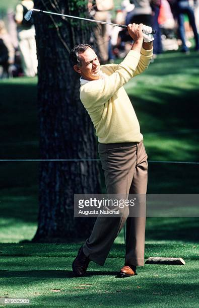David Graham tees off during the 1984 Masters Tournament at Augusta National Golf Club on April 1984 in Augusta Georgia