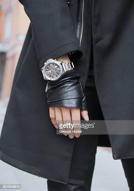 David Granados seen at Industria Superstudios wearing black leather Skingraft pants black Armani vest and silver watch Topman black coat and Zara...