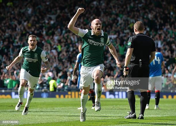 David Gray of Hibernian celebrates scoring the winning goal as Hibernian as they beat Rangers 32 during the William Hill Scottish Cup Final between...