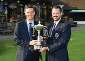 David Green and Tom Wagenhofer of Wildernesse Club pose with the trophy after winning the The Lombard Trophy South Qualifier at Walton Heath Golf...