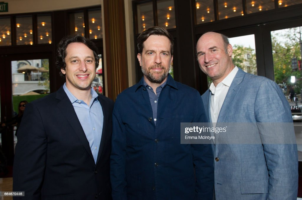 David Greenbaum, Ed Helms and Matthew Greenfield arrive at the premiere of Fox Searchlight Pictures' 'Gifted' at Pacific Theaters at the Grove on April 4, 2017 in Los Angeles, California.