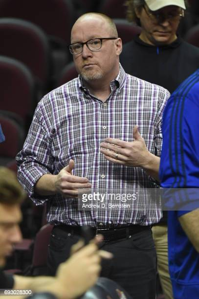 David Griffin General Manager of the Cleveland Cavaliers observes practice and media availability as part of the 2017 NBA Finals on June 06 2017 at...