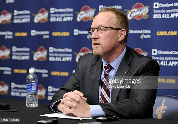David Griffin is named General Manager of the Cleveland Cavaliers at a press conference at The Cleveland Clinic Courts on May 13 2014 in Independence...