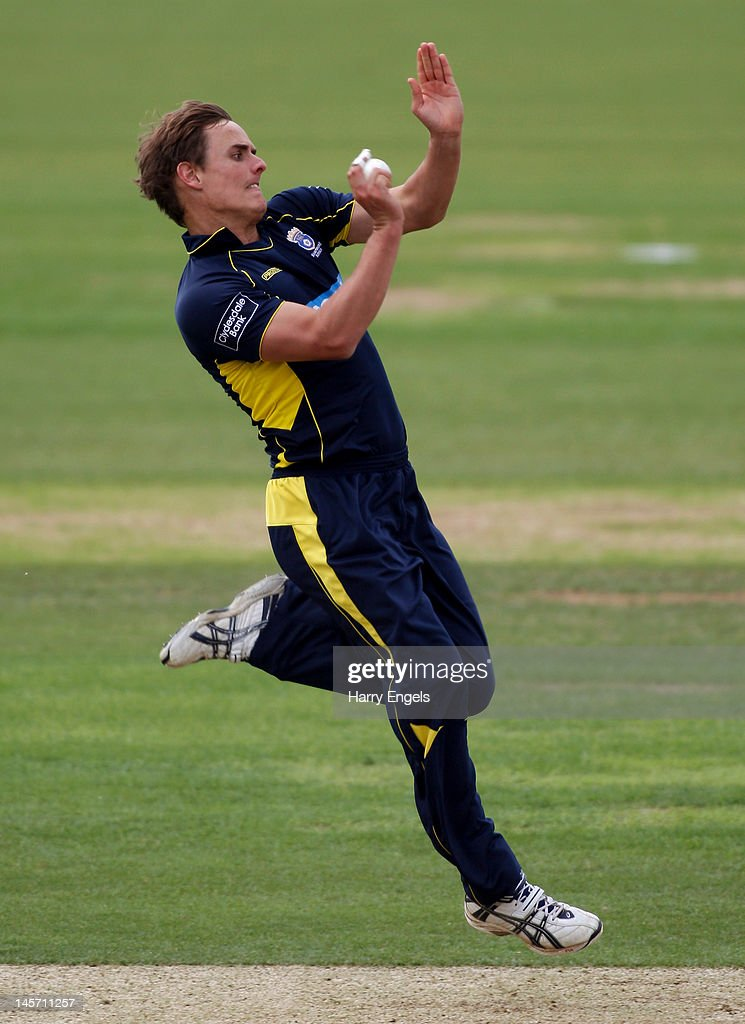 David Griffiths of Hampshire bowls during the Clydesdale Bank Pro40 match between the Hampshire Royals and the Scottish Saltires on June 4, 2012 in Southampton, England.