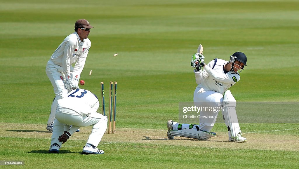 David Griffiths of Hampshire is bowled out by Adam Riley of Kent during day two of the LV County Championship match between Hampshire and Kent at The Ageas Bowl on June 06, 2013 in Southampton, England.