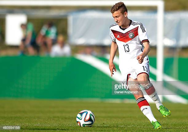 David Groezinger of Germany controls the ball during the international friendly U15 match between Germany and Netherlands on May 20 2014 in...