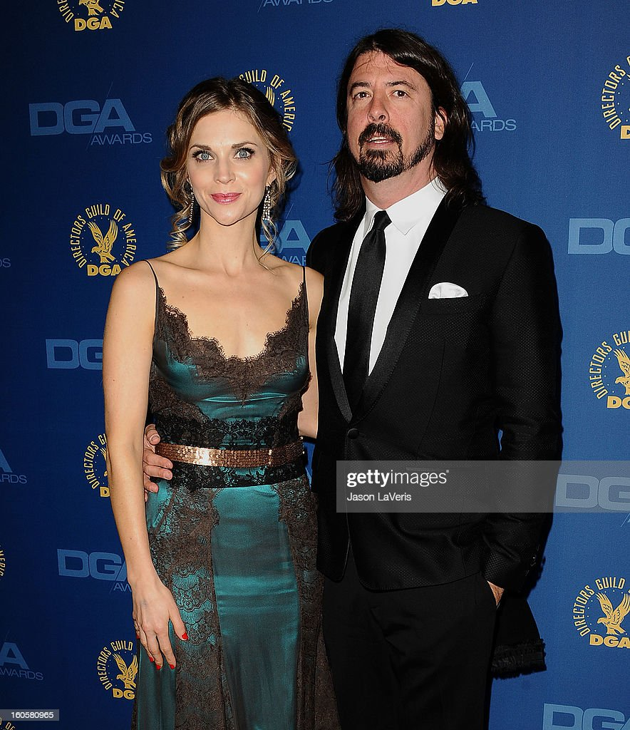 David Grohl (R) and wife Jordyn Blum Grohl attend the 65th annual Directors Guild Of America Awards at The Ray Dolby Ballroom at Hollywood & Highland Center on February 2, 2013 in Hollywood, California.