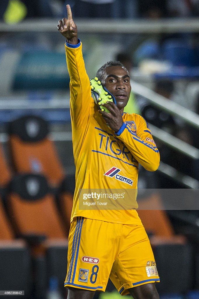 David Guerron of Tigres celebrates after scoring the first goal of his team during a match between Pachuca v Tigres UANL as part of 10th round...