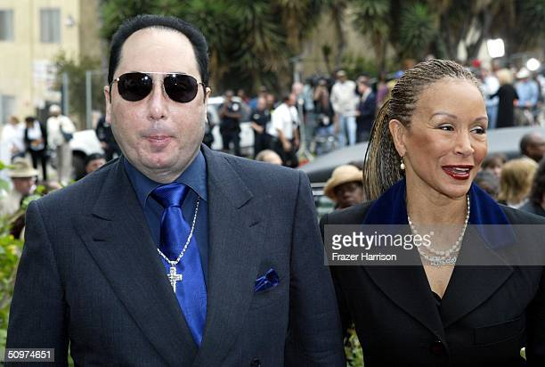David Guest and Freda Payne arrive at the First AME Church for the Funeral of Musician of Ray Charles on June 18 2004 in Los Angeles California