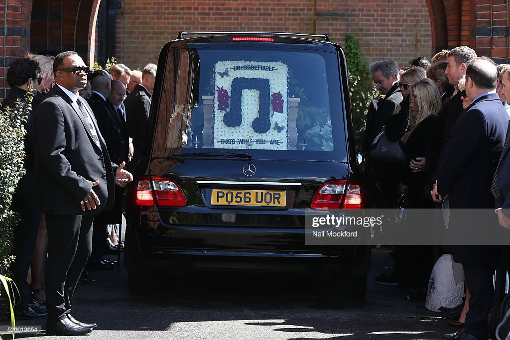 David Guest's coffin arriving at his funeral at Golders Green Crematorium on April 29, 2016 in London, England.