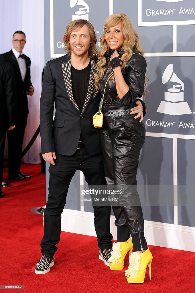 David Guetta and his wife Cathy Guetta arrive at the 54th Annual GRAMMY Awards held at Staples Center on February 12 2012 in Los Angeles California