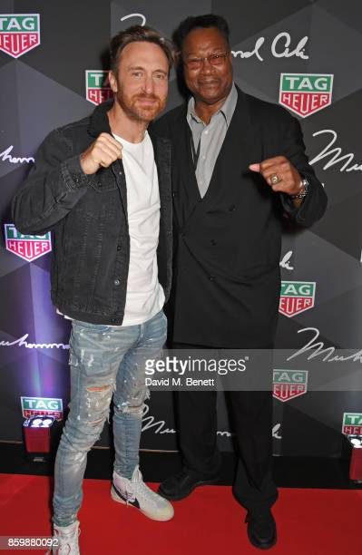 David Guetta and Larry Holmes attend the launch of the TAG Heuer Muhammad Ali Limited Edition Timepieces at BXR Gym on October 10 2017 in London...