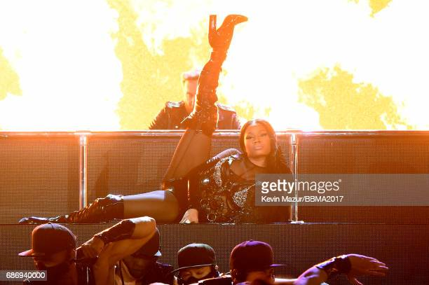 David Guetta and rapper Nicki Minaj perform onstage during the 2017 Billboard Music Awards at TMobile Arena on May 21 2017 in Las Vegas Nevada