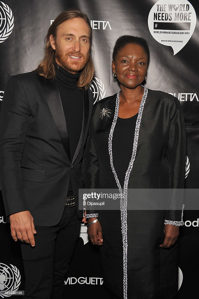 David Guetta and UN UnderSecretaryGeneral for Humanitarian Affairs and Emergency Relief Coordinator Valerie Amos attend the premiere of David...